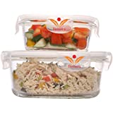 Femora Borosilicate 580 Ml Round Glass Food Storage Container With Air Vent Lid(Transparent) - Set Of 2