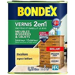 BONDEX - Vernis - Protège et Embellit le Bois - Brillant - 0,25l - Incolore