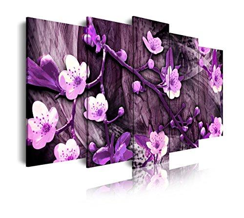 DEKOARTE 411 - Cuadro Moderno en Lienzo 5 Piezas diseño Paisaje de Flores en Tonos morados, 150x3x80cm