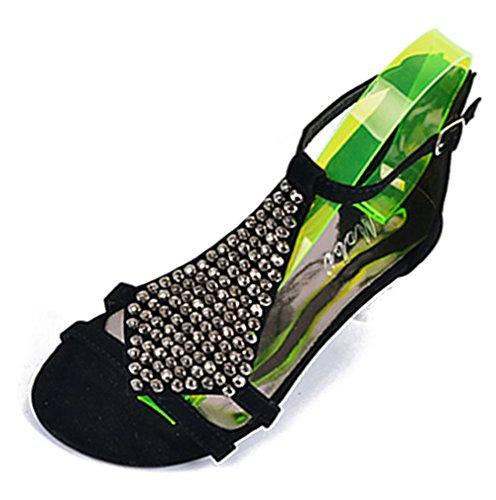 Fortuning's JDS mode unique perles bas sandales compensées slingback chaussures pour dames Noir