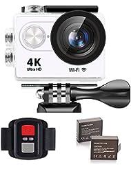 IXROAD Caméra Sport Embarquée 4K Ultra HD WiFi Action Cam Caméscope d'action Appareil Photo Étanche avec Écran LCD de 2 Pouces, Grand Angle de 170°, Télécommande, 2 Batteries, Kit d'accessoires (Blanc)