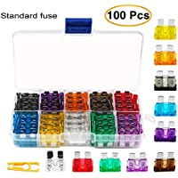 Standard Car Fuses,TKING 100pcs Assorted Auto Car Standard Blade Fuses Replacement Kit 2A 3A 5A 7.5A 10A 15A 20A 25A 30A 35A With 1 Fuse Extrator 1 Carrying Box (Car Standard Blade Fuse)