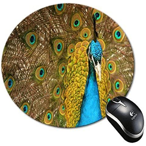 BlueBerry Design Blue Peacock Design Round Mouse Pad Mousepad - Ideal Gift for all occasions
