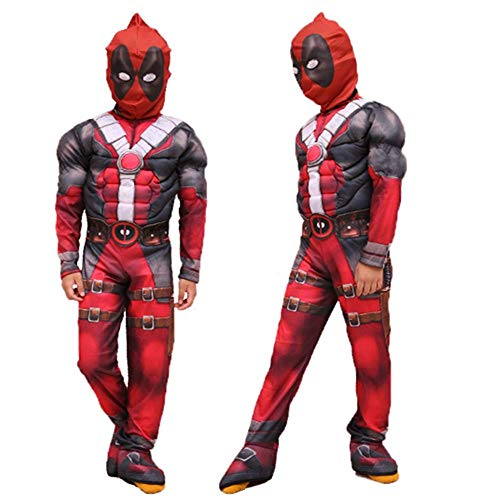 Farrosig Kinder Unisex Deadpool Cosplay Kostüm Muskelstil Cosplay Outfits (Large) (Deadpool Kostüm Kinder)