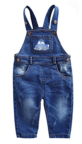 CYSTYLE Latzhose Baby Kleinkind Jungen Jeanshose Baumwolle Tasche Jeans Hosen mit Auto Drucken (130CM/Körpergröße 114-119cm)