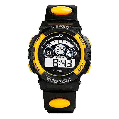 Uhr Herren Uhren Herrenuhr Sportuhr armbanduhr herren DAY.LIN Wasserdicht Herren Jungen Digital LED Quarz Alarm Datum Sport-Armbanduhr (Gelb)