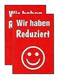 Plakate 2 Stück aus Papier 150g/qm 58,4 x 83,2 cm WIR HABEN REDUZIERT ohne Rahmen Werbesymbol