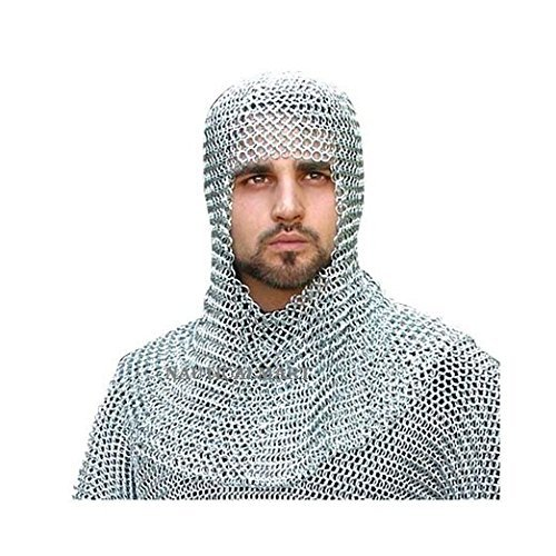 nmail Butted Steel Armour Metallic One Size by NAUTICALMART (Chainmail Coif Kostüm)
