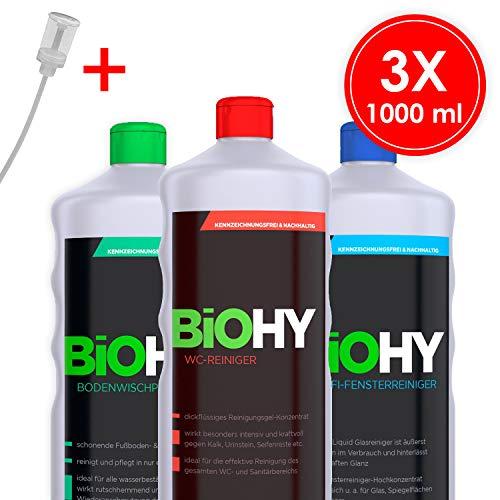 BIOHY - Profi Reinigungsmittel-Set mit Dosierer (3 x 1 L) - WC, Fenster und Boden - Ökologisch und Veganes Reinigungsmittel für nachhaltige Reinigung -