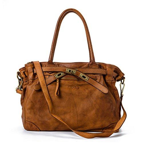 Ira del Valle, Frau Tasche, echtes Leder, Vintage, Frau Umhängetasche, Santa Monica Tasche Modell, Made In Italy (Cognac) (Furla Kroko)