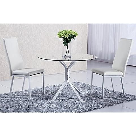 Mesa cristal rendonda para comedor salón con patas pintadas en blanco modelo GINEBRA – Sedutahome