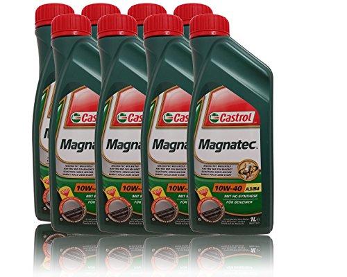 8 X 1 L = 8 litri Castrol Magnatec 10W-40 A3/B4 olio motore con ciondolo per cambio olio