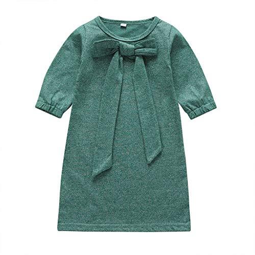 DIASTR Kleid Valentinstag Kleinkind Säuglingsbaby Kinder Mädchen Prinzessin Dress Outfits Kleidung Lace up Bowknot Herbst Kleid Rot, Lila, Grün (9Monate-4Jahre)