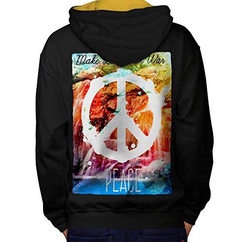 Machen Liebe Nicht Krieg Mode Frieden Leben Men M Kontrast Kapuzenpullover Zurück | Wellcoda