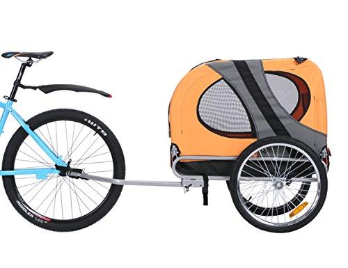 Leonpets Haustier Fahrradanhänger Hundewagen Transporter mit Universalkupplung Orange 10117