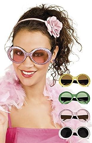 erdbeerloft - Oversize Flower Hippie Brille Sonnenbrille Kostüm, Rosa