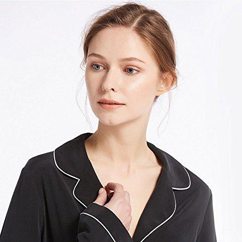 LILYSILK Chemisier Mat de Pyjama en Journée Liserés Contrastants pour Femme en 100% Soie 23 Momme Noir