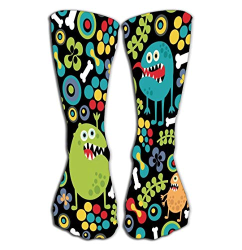 Xunulyn Hohe Socken Outdoor Sports Men Women High Socks Stocking Cute Monsters Texture Bones Flowers Pattern Fantasy Tile Length 19.7