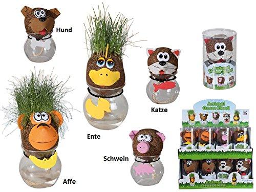 16 Stück lustiger Tier Graskopf, Kindergeburtstag Mitbringsel, Mitgebsel (Lustige Affen-figuren)