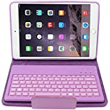 Uni-Smartech Leather Case Cover Stand with Wireless Bluetooth Removable Silicone Keyboard for IPAD mini series, Purple