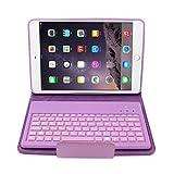 dizauL®Leder-Etui Cover mit Wireless Bluetooth abnehmbare Silikon-Tastatur für Ipad Mini(lila)