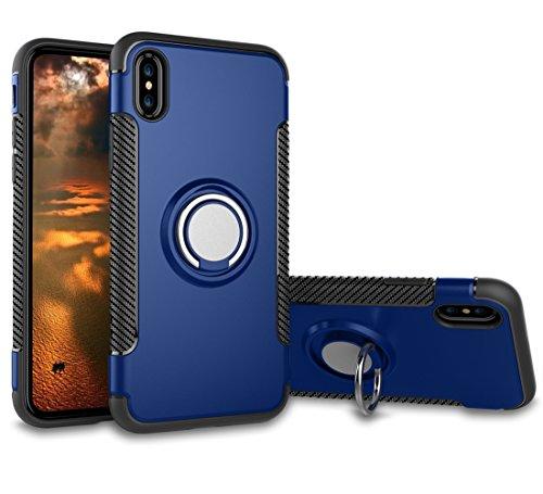 (TOCASO iPhone X Hülle, iPhone X Schutzhülle Handyhülle Silikon TPU Außenteil Schutzhülle Case Stoßfestes Handy Schutzhülle Shockproof robuste Hülle für iPhone X - Armor Königsblau)