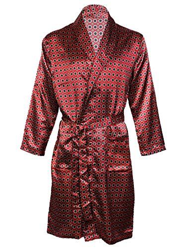 Herren-Satin-Bademantel, Nachthemd Gr. XL, Maroon Gown (Satin Bademantel Herren)