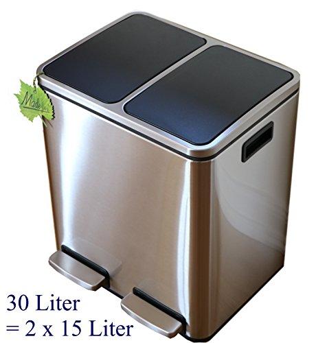 30 L Edelstahl Tret-Abfalleimer 2x15 L Mülleimer 2-fach Mülltrennung 2er Müll-Trennsystem 30 Liter Abfallsammler zur Abfall-Trennung Pedal-Treteimer original Made for us