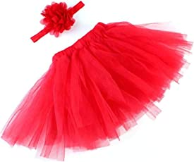 Voberry Unisex-Baby Newborn Photo Prop Outfits Tutu Skirt with Elastic Headband 0~1 Years Old Red