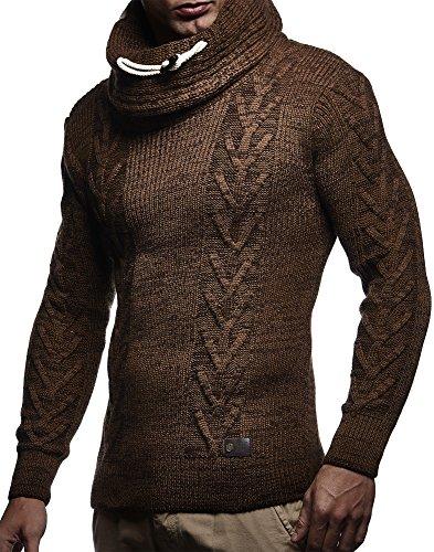 LEIF NELSON Herren Pullover Strickpullover Hoodie Hoody LN7135; Grš§e M, Camel-Braun