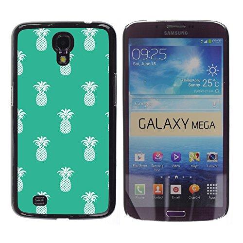 WonderWall Tapete Bunt Bild Handy Hart Schutz hülle Case Cover Schale Etui für Samsung Galaxy Mega 6.3 I9200 SGH-i527 - Ananas-Muster 420 Unkraut grün weiß
