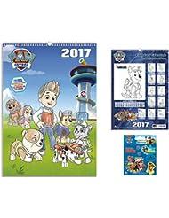 Set: La Patrulla Canina, Calendario Para Colorear 2017 (42x30 cm) Con 1x Pegatina Vinilo Autoadhesivo (12x10 cm)