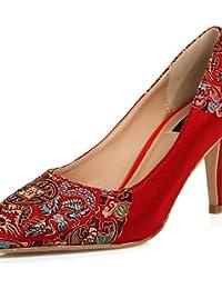 WSS 2016 Zapatos de boda-Tacones-Tacones / Puntiagudos / Punta Cuadrada-Boda / Oficina y Trabajo / Vestido / Fiesta y Noche-Rojo-Mujer . 2in-2 3/4in-red