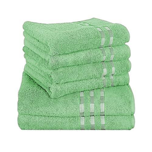 Delindo Lifestyle Handtuch-Serie COLARES Lemon - grün, 6-Teiliges Handtuch Set, 2 Badetücher und 4 Handtücher, 100% Baumwolle - Moderne Handtuch-set