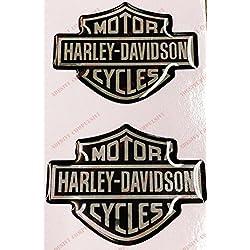 Adesivi Compulsivi - Adhesivos resinados con la insignia de Harley Davidson con efecto 3D Para depósito o casco Negro-cromo.