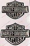 Lot de 2 stickers, logo Harley Davidson, en résine effet 3D Pour réservoir ou casque. Noir et chrome.