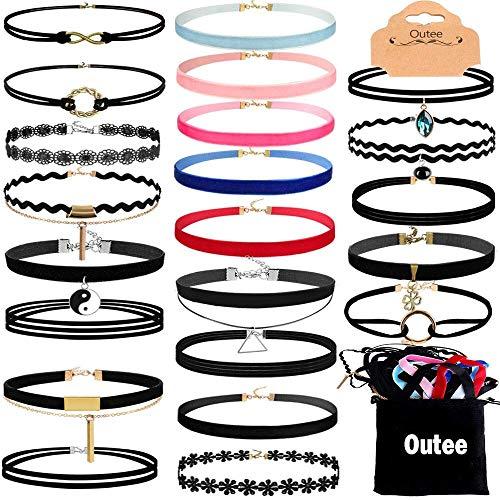 Outee 30 PCS Schwarze Samt Choker Halskette Set Henna Tattoo Choker Set Samt Tattoo Ribbon Velvet Choker Set für Teen Girls Frauen (Kommen Henna)