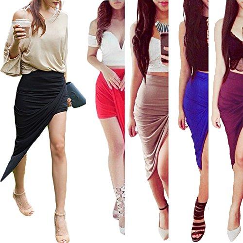 D9Q Frauen Dame Sexy Wrap Soft Slim hohe Taillen Asymmetrisches Minikleid Rock Schwarz