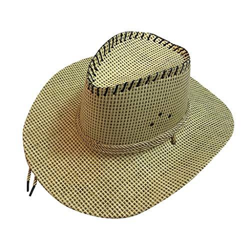 CANDLLY Hut Damen, Kopfbedeckung Zubehör Kopfschmuck Mode Mode Unisex Western Cowboy Hut für Gentleman Sombrero Breiter Krempe(A,One size