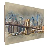 Feeby NEW YORK Wandbild Deco Panel Bild, Größe: 70x50 cm, BROOKLYN BRIDGE ARCHITEKTUR BRAUN BLAU