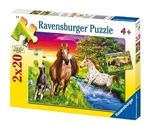 Ravensburger - Puzzle enfant - Le Monde Des Chevaux - 2X20 Pièces