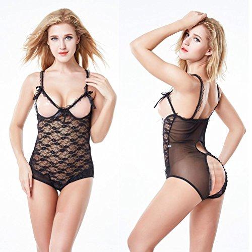 FANGHAO Womens Reizvolle Wäsche-Bloße Cupless Teddybär-Crotchless Spitze-Bodysuits, Black, s - Cupless Spitze Baby Doll