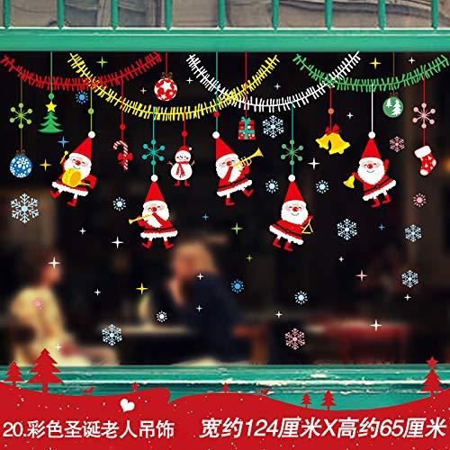 Wandaufkleber Wandtattoo Wohnzimmerweihnachtsverzierung Socken, Schneeflocke Fenster Für Ältere Menschen, Farbe Santa Claus Anhänger -