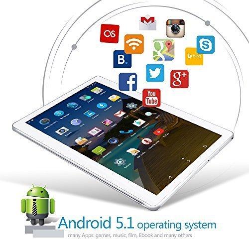 YUNTAB Tablet Pc 10.1 Zoll Tablet 3g- Android 5.1 Lollipop - Telefonieren - GPS- Navigation - Google play - 1GB RAM - 16GB - Dual kamera- battery 5000 mha - Bluetooth 4.0 (Silber) - 4