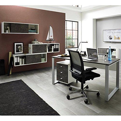 Komplett Büromöbel Set ● weiß Basalto dunkel ● Schreibtisch Rollcontainer Schiebetür-Aktenregale ● Made in Germany