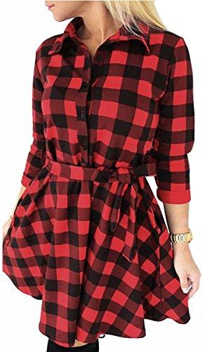 Fancyinn Mujeres, Manga Larga, Camisa a Cuadros, túnica, Tops, Camisa, Vestido Casual, Rojo XL