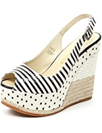 Espadrilles B5021 Sandalo Donna Gioia Scarpa Zeppa Panna Nero Shoe Sandal  Woman 331c9b923d8