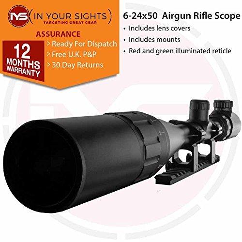 df45af09513 In Your Sights Sus MONUMENTOS 6-24x50 Iluminado Retículo AO Alcance del  Rifle - 20mm Weaver Mounts