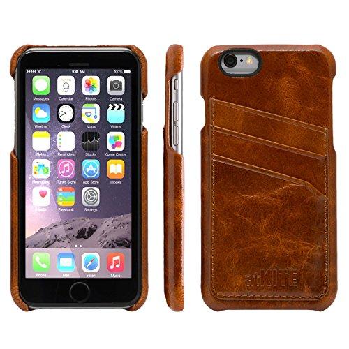 iPhone 6 / 6S Case, atKITE Echtleder Vintage-Style Rückseite Case - Braun - Kartenhalter - Ultra Slim - Präziser Zuschnitt und Design - Handgefertigt Braun