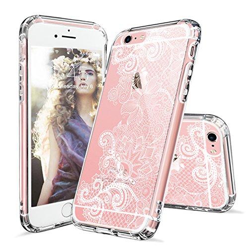iPhone 6s Hülle, iPhone 6s Case, MOSNOVO Henna Mandala Blumen Weiß Muster Transparent TPU Bumper mit Hart Plastik Durchsichtige Schutzhülle für Apple iPhone 6 6s (4,7 Zoll) (Mandala Henna Tattoo) Floral Lace